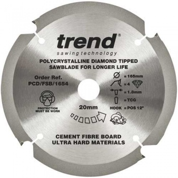 PCD/FSB/1604 - 160mm x 20mm bore 4 teeth Fibre board blade Polycrystaline