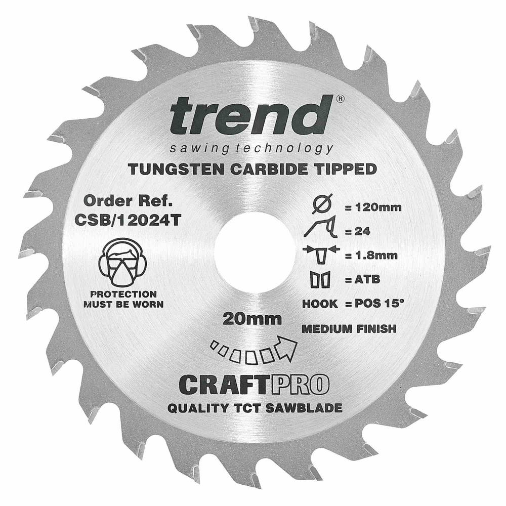 CSB/12024T - Craft saw blade 120mm x 24 teeth x 20mm thin