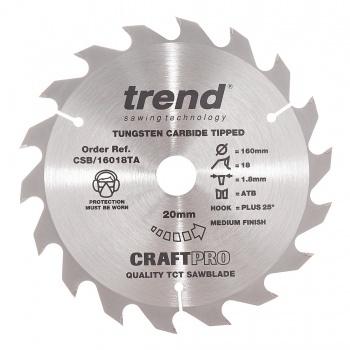 CSB/16018TA - Craft saw blade 160mm x 18 teeth x 20 thin