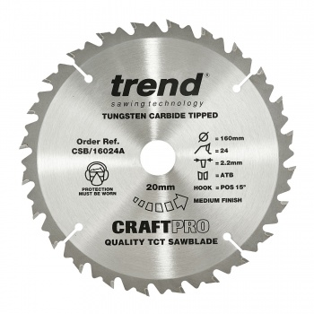 CSB/16024A - Craft saw blade 160mm x 24 teeth x 20mm
