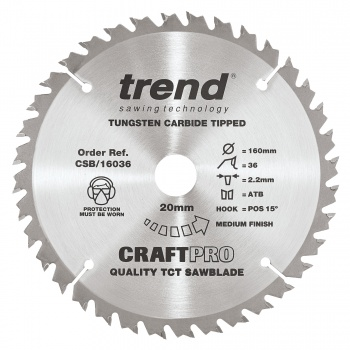 CSB/16036 - Craft saw blade 160mm x 36 teeth x 20mm