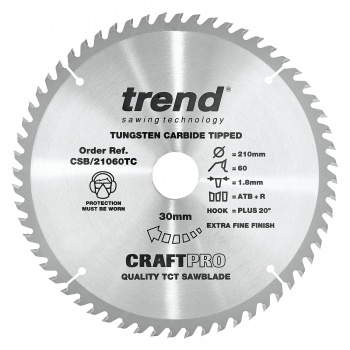 CSB/21060TC - Craft saw blade 210mm x 60 teeth x 30 x 1.8 for DCS7485
