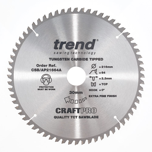 CSB/AP21664A - Craft saw blade aluminium and plastic 216mm x 64 teeth x 30mm