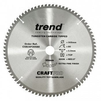 CSB/AP30580 - Craft saw blade aluminium and plastic 305 x 80 teeth x 30
