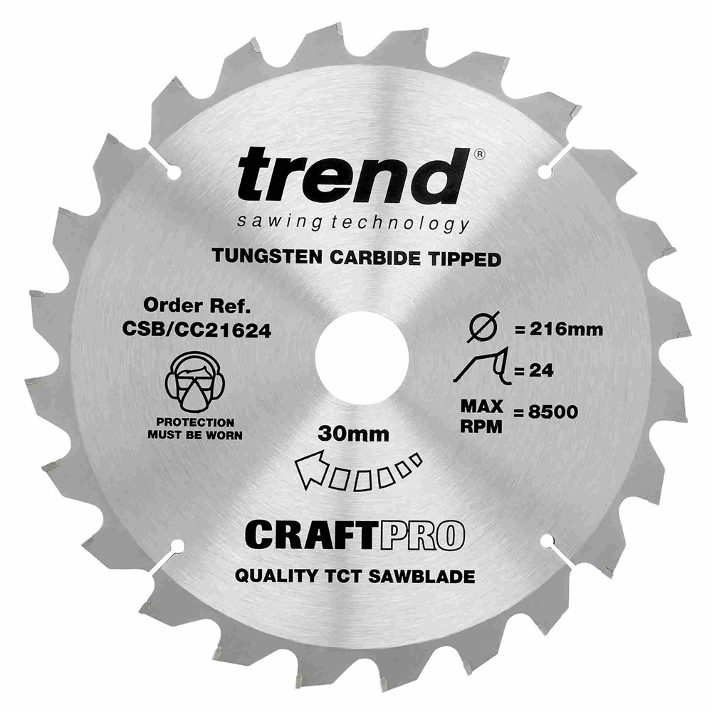 CSB/CC21624 - Craft saw blade crosscut 216mm x 24 teeth x 30mm