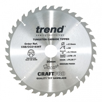 CSB/CC21636T - Craft saw blade crosscut 216mm x 36 teeth x 30mm thin