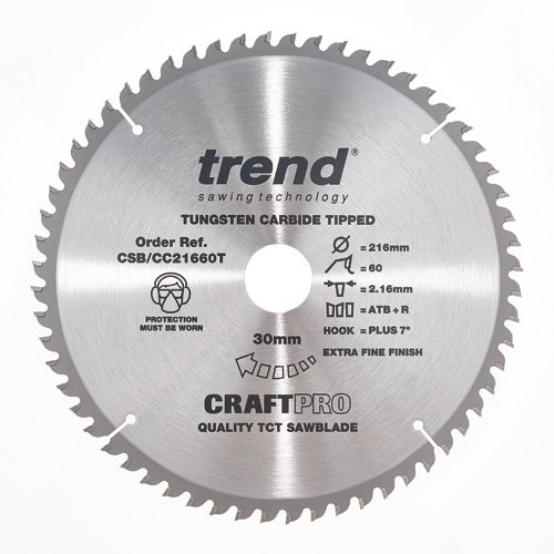 CSB/CC21660T - Craft saw blade crosscut 216mm x 60 teeth x 30mm thin