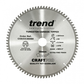 CSB/CC26080 - Craft saw blade crosscut 260mm x 80 teeth x 30mm