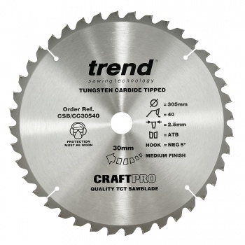 CSB/CC30540 - Craft saw blade crosscut 305mm x 40 teeth x 30mm
