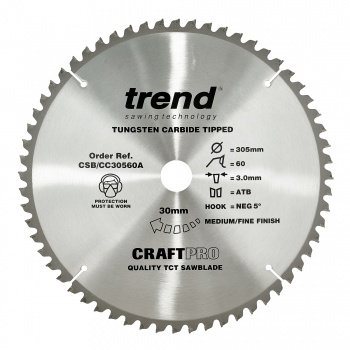 CSB/CC30560A - Craft saw blade crosscut 305mm x 60 teeth x 30mm